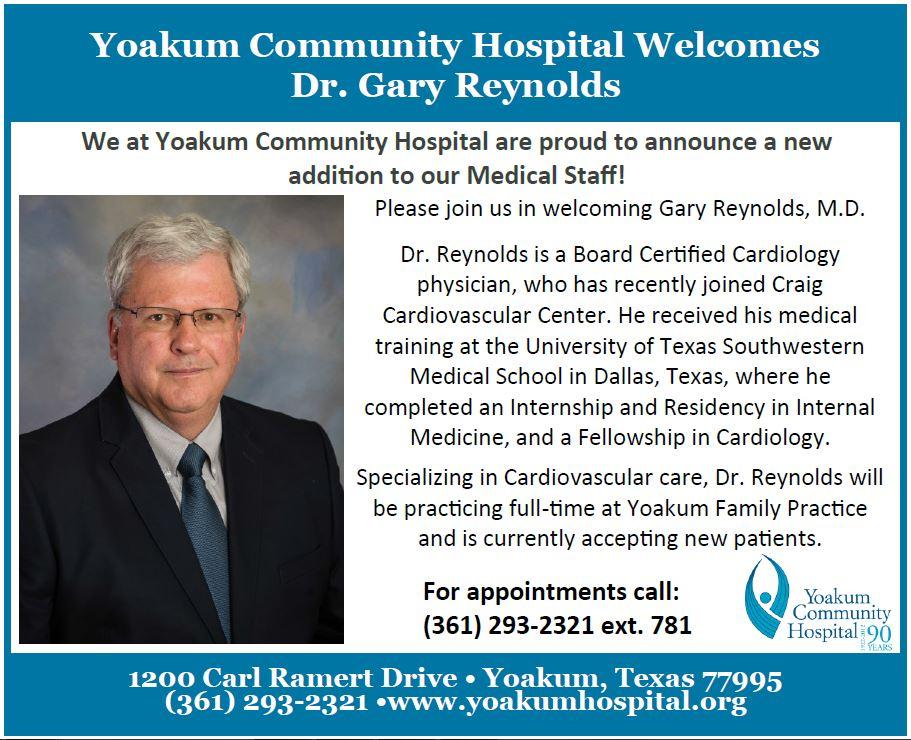YCH Medical Staff Welcomes Gary Reynolds, MD - Yoakum Community Hospital